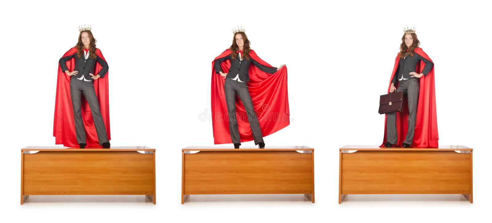The queen businessman standing on the desk. Queen businessman standing on the desk royalty free stock photography