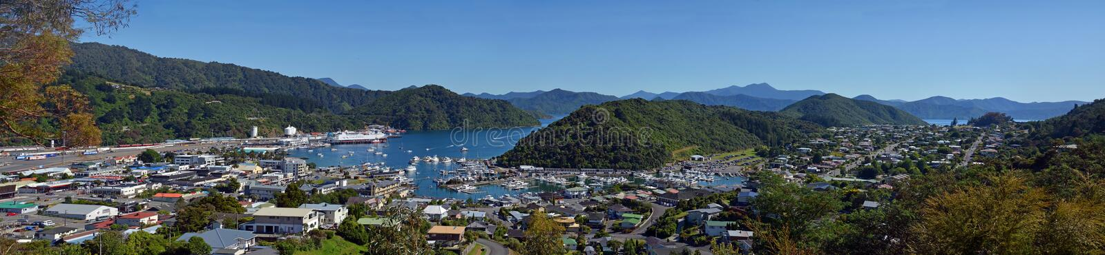 Queen Charlotte Sound, Picton & Waikawa Panorama, New Zealand royalty free stock images