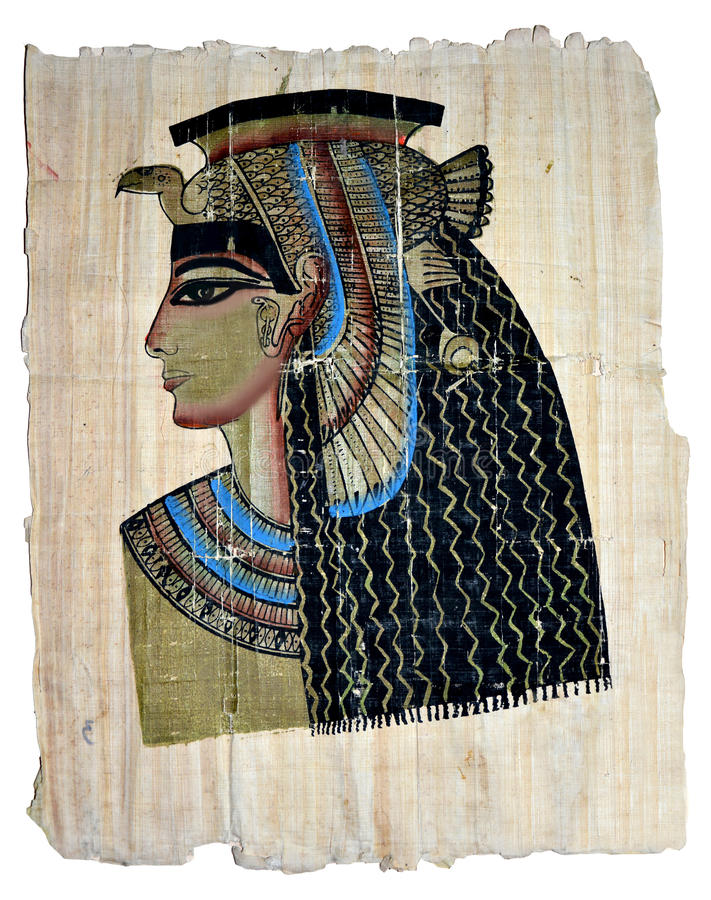 Free Queen Cleopatra On Egyptian Papyrus Stock Photo - 45460880