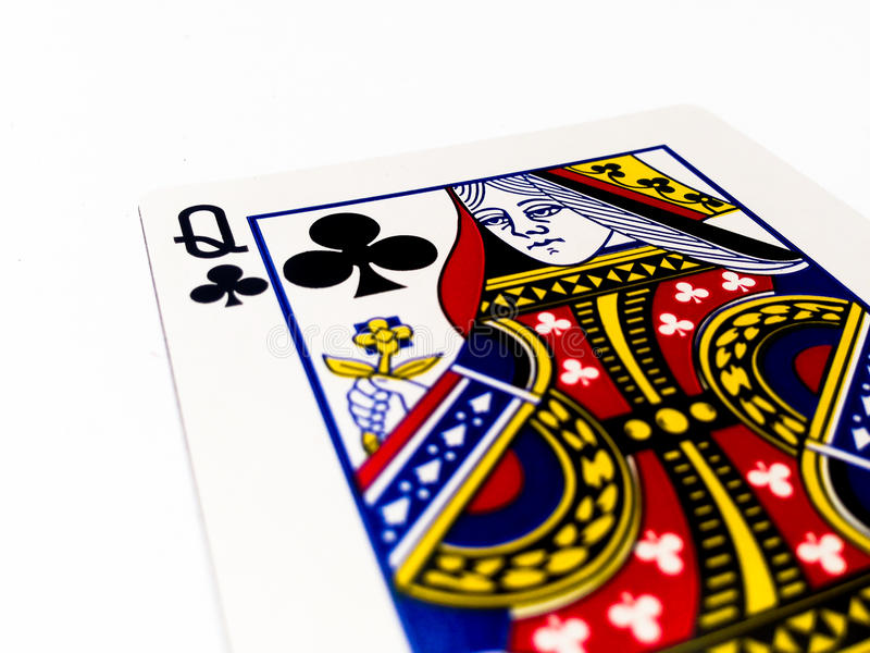 Queen Clovers / Clubs Card with White Background. A playing card is a piece of specially prepared heavy paper, thin cardboard, plastic-coated paper, cotton-paper royalty free stock photos