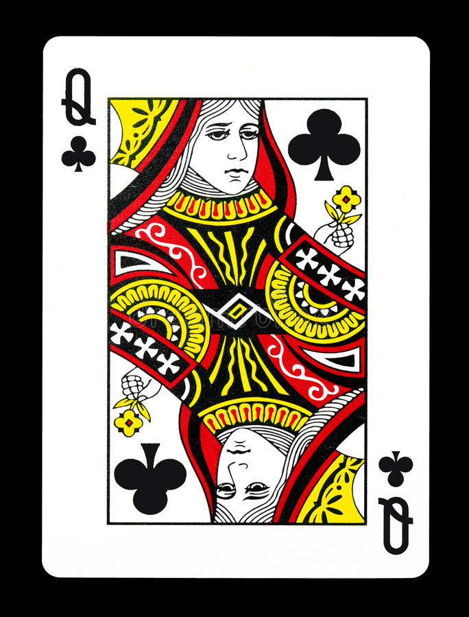 Queen of clubs playing card,. Isolated on black background stock image
