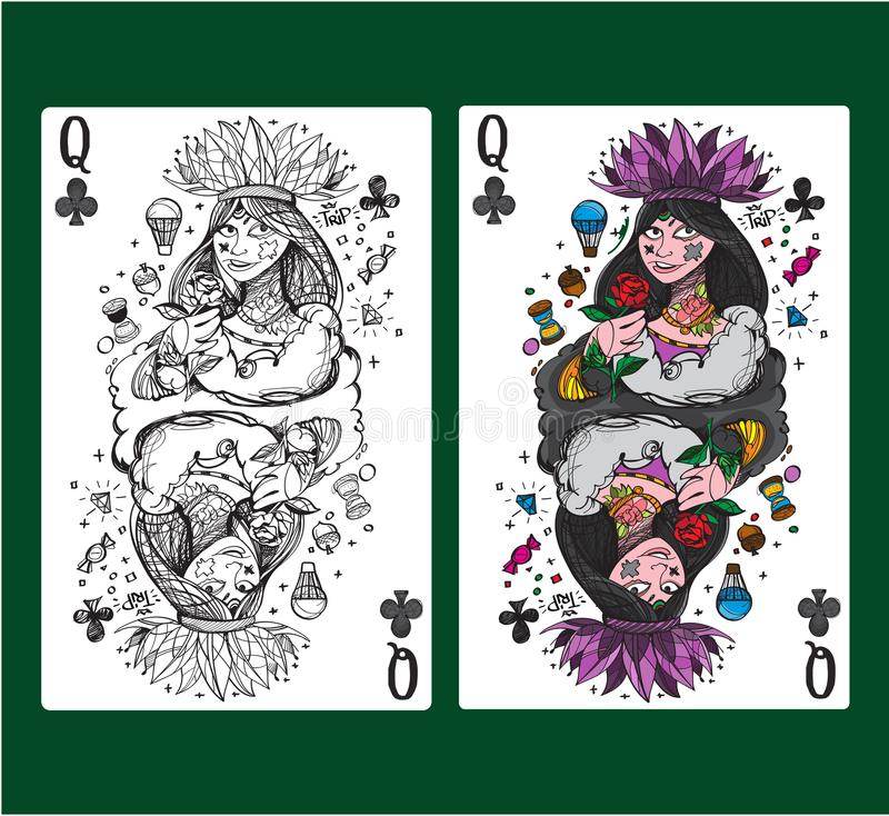 Queen of clubs playing card suit. Vector illustration vector illustration