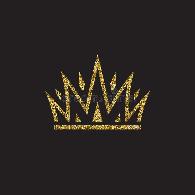 Queen crown, royal gold headdress. King golden accessory. Isolated vector illustrations. Elite class symbol on black vector illustration