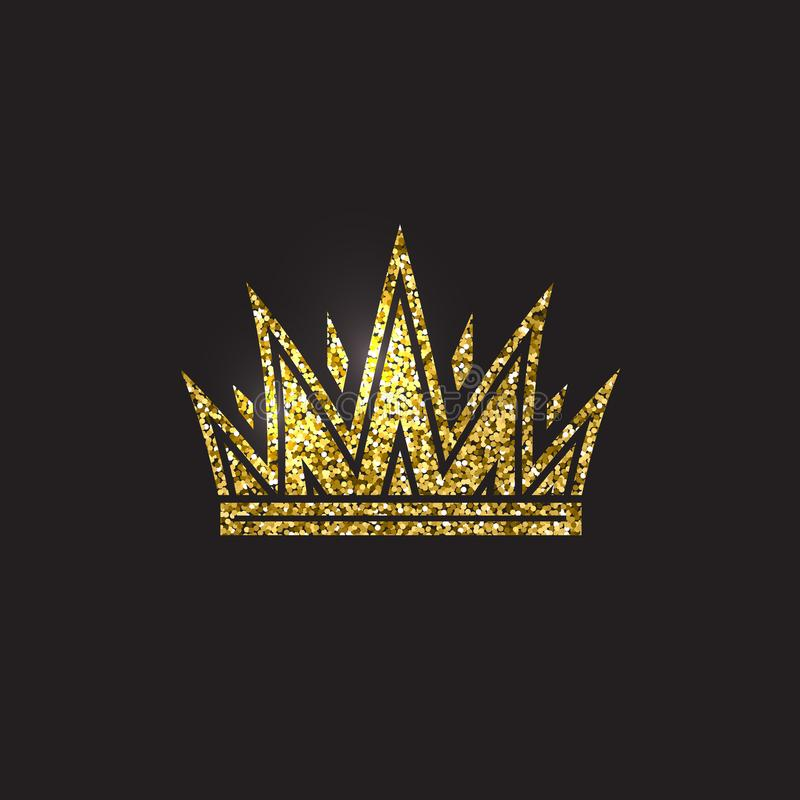 Queen crown, royal gold headdress. King golden accessory. Isolated vector illustrations. Elite class symbol on black stock illustration
