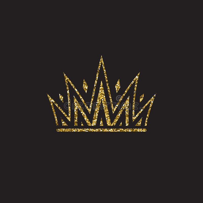 Queen crown, royal gold headdress. King golden accessory. Isolated vector illustrations. Elite class symbol on black royalty free illustration