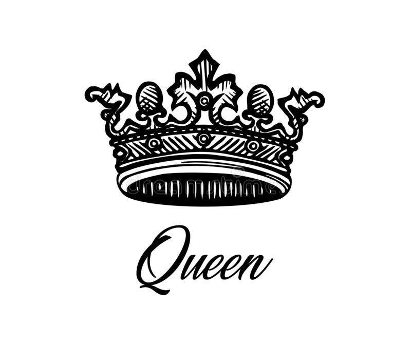 Queen crown tattoo design. Vector Royal crown . Crown engraving. Luxury design element. Tattoo crown design.Queen crown stock illustration