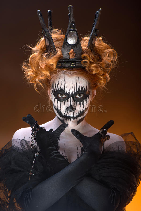 Queen of death. Scary body art to halloween stock image