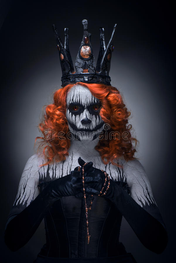 Queen of death. Scary body art to halloween royalty free stock image