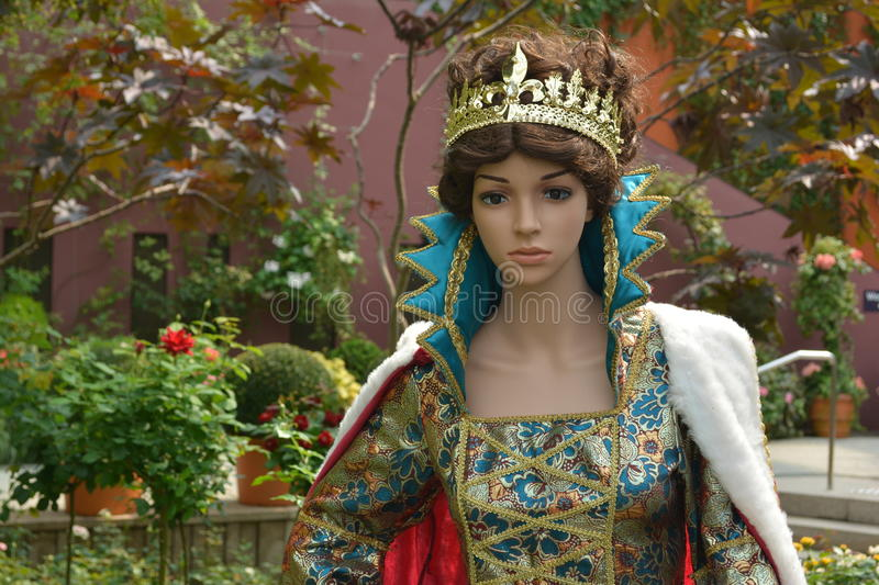 Queen doll. Close up with royal clothes stock photo