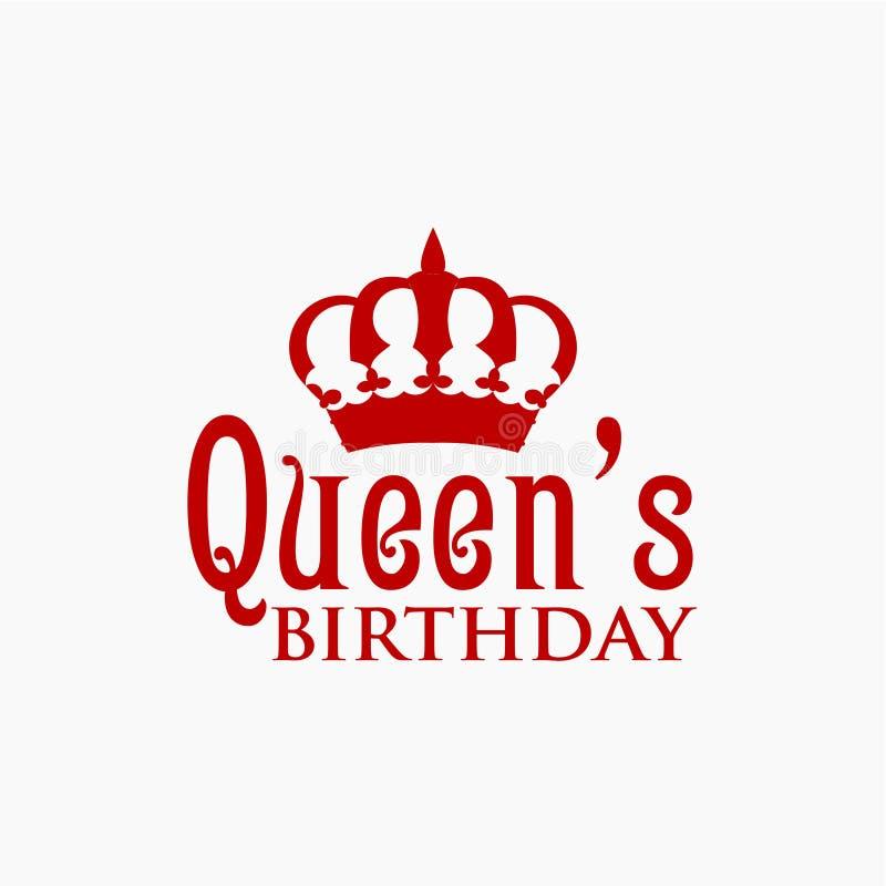 Queen& x27; ejemplo del diseño de la plantilla del vector del cumpleaños de s ilustración del vector