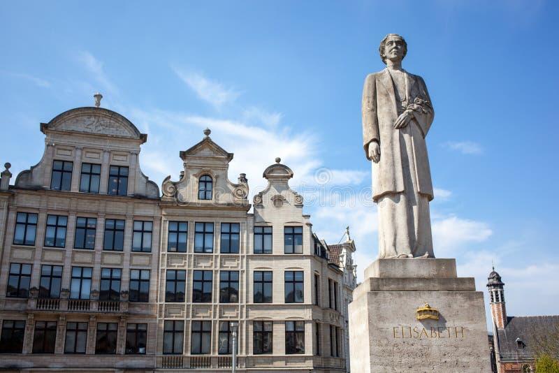 The Queen Elisabeth statue. In Brussels, Belgium stock image