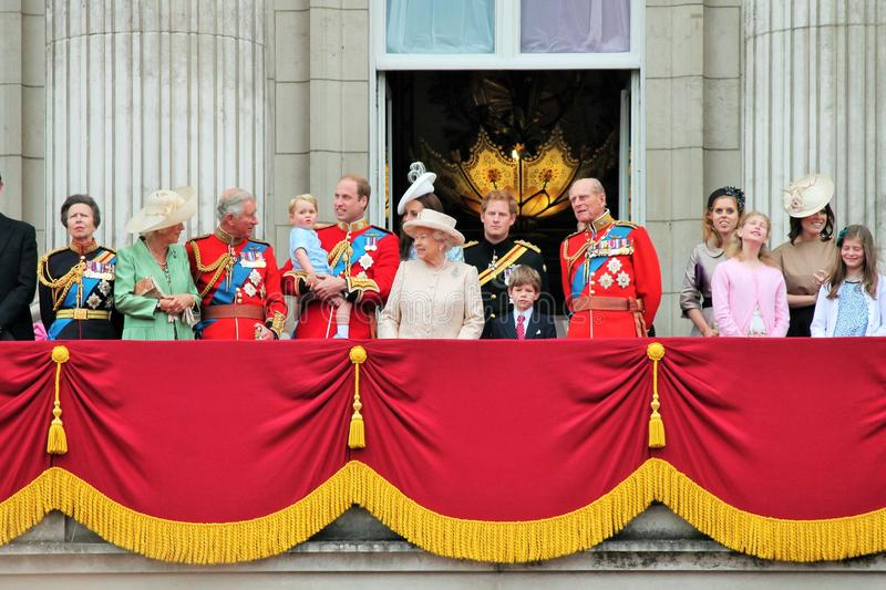 Queen Elizabeth, Prince harry George William, Kate. Queen Elizabeth & Royal Family: Prince Harry, William, Philip, Charles, George, Kate, Camilla at Buckingham royalty free stock photography