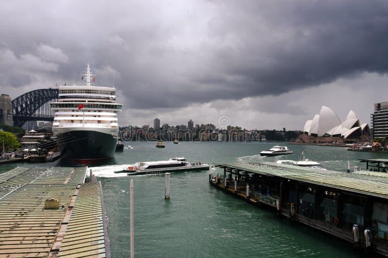 Queen Elizabeth Cruise Ship In Sydney Harbour. Editorial Photo