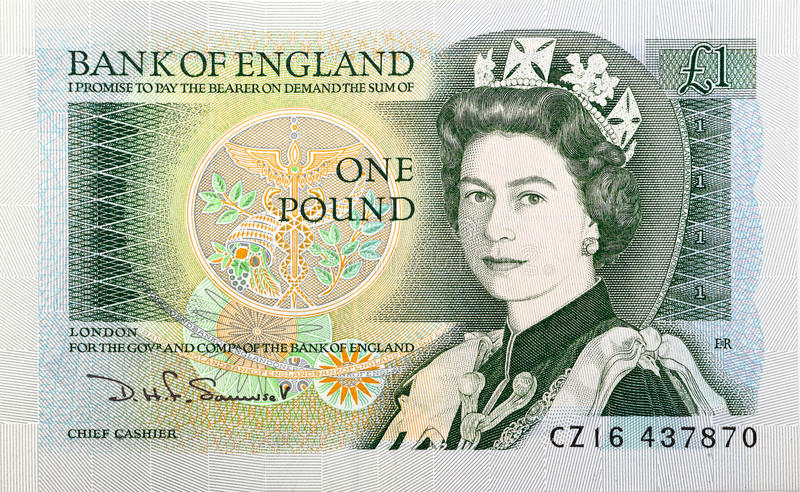 Queen Elizabeth II One Pound note. Queen Elizabeth II on a UK retro one pound bank note, old money royalty free stock photography