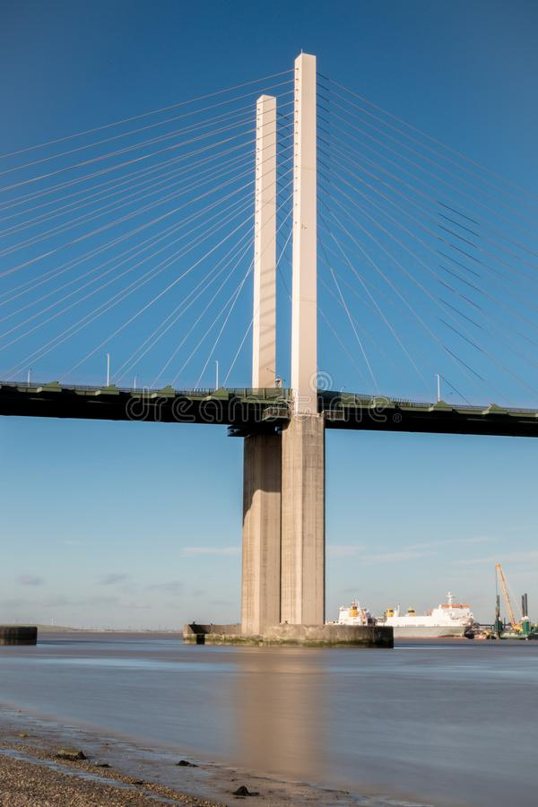 The Queen Elizabeth II bridge across the River Thames at Dartford. England royalty free stock image