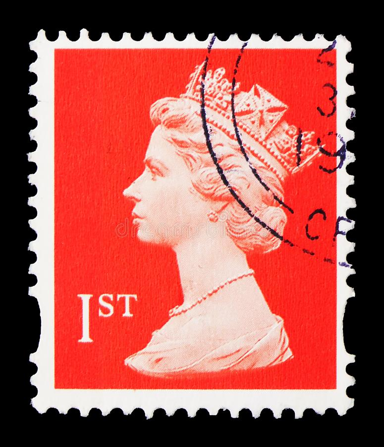 Queen Elizabeth II, Decimal Machin serie, circa 1995. MOSCOW, RUSSIA - AUGUST 8, 2019: Postage stamp printed in United Kingdom shows Queen Elizabeth II, Decimal stock photography