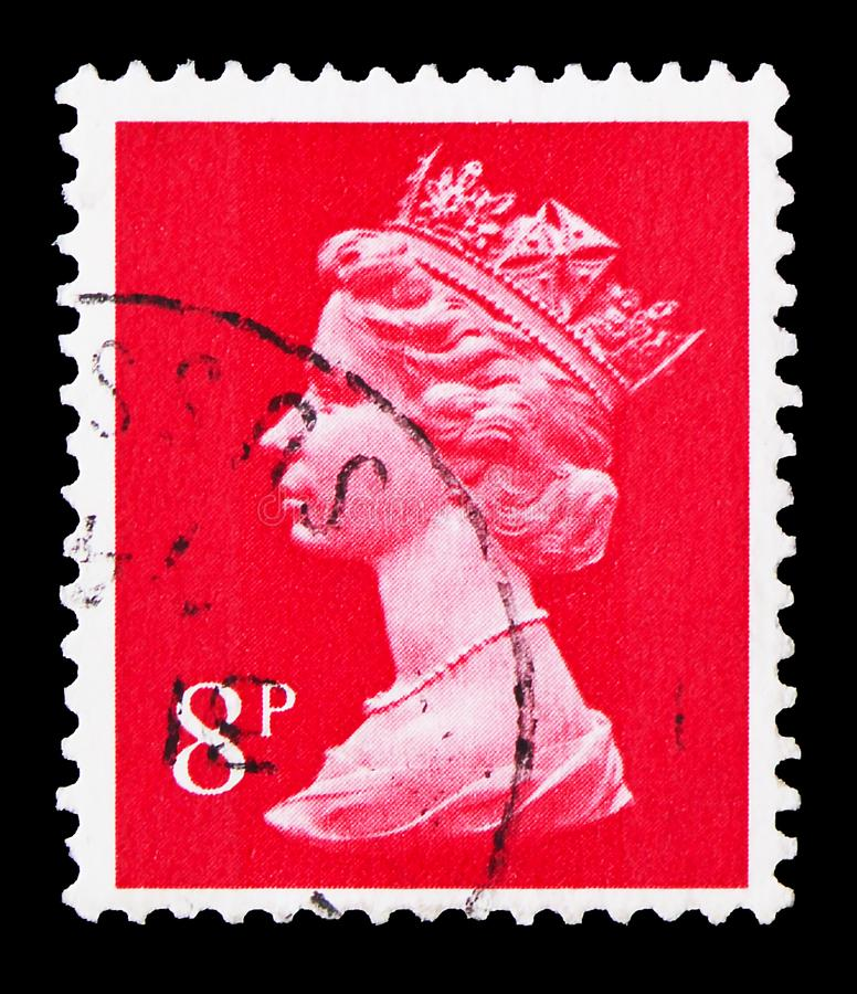 Queen Elizabeth II, Decimal Machin serie, circa 1979. MOSCOW, RUSSIA - AUGUST 8, 2019: Postage stamp printed in United Kingdom shows Queen Elizabeth II, Decimal royalty free stock photos