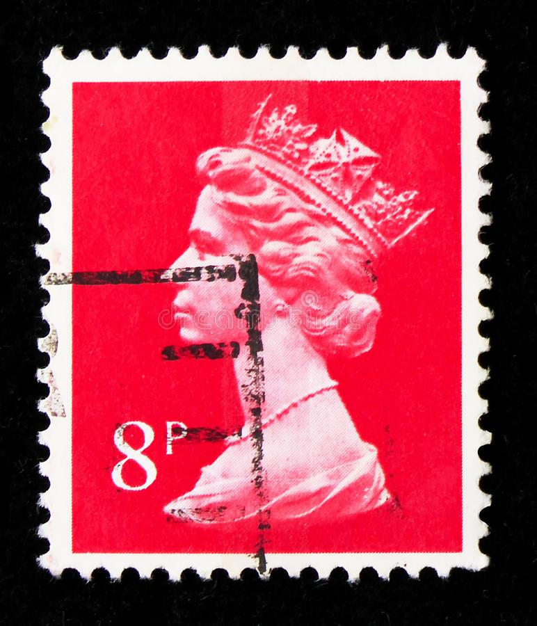 Queen Elizabeth II, Decimal Machin serie, circa 1979. MOSCOW, RUSSIA - AUGUST 8, 2019: Postage stamp printed in United Kingdom shows Queen Elizabeth II, Decimal stock photos