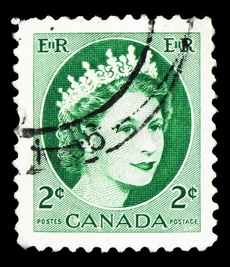 Queen Elizabeth II, Definitives 1954-62 - Wilding Portrait serie, circa 1962. MOSCOW, RUSSIA - SEPTEMBER 22, 2019: Postage stamp printed in Canada shows Queen royalty free stock photo