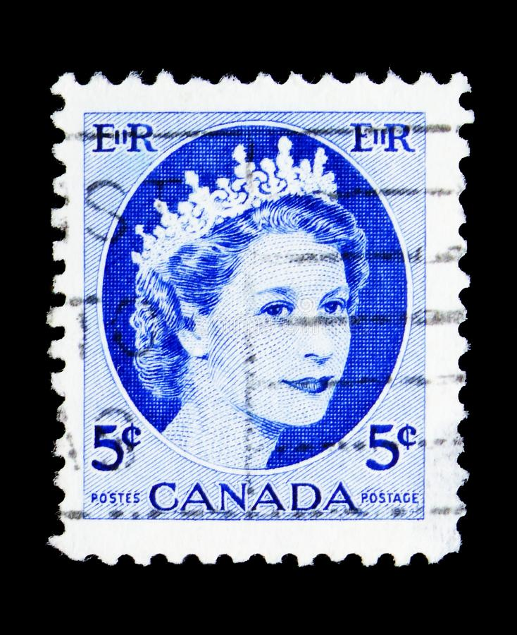Queen Elizabeth II, Definitives 1954-62 - Wilding Portrait serie, circa 1962. MOSCOW, RUSSIA - MAY 15, 2018: A stamp printed in Canada shows Queen Elizabeth II royalty free stock image
