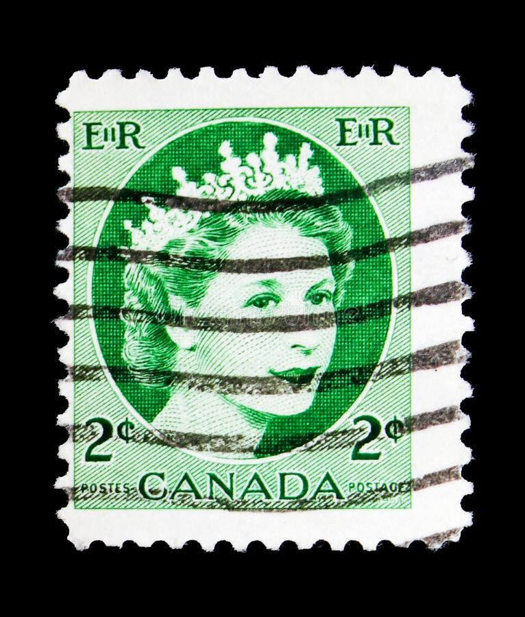 Queen Elizabeth II, Definitives 1954-62 - Wilding Portrait serie, circa 1962. MOSCOW, RUSSIA - MAY 15, 2018: A stamp printed in Canada shows Queen Elizabeth II stock images