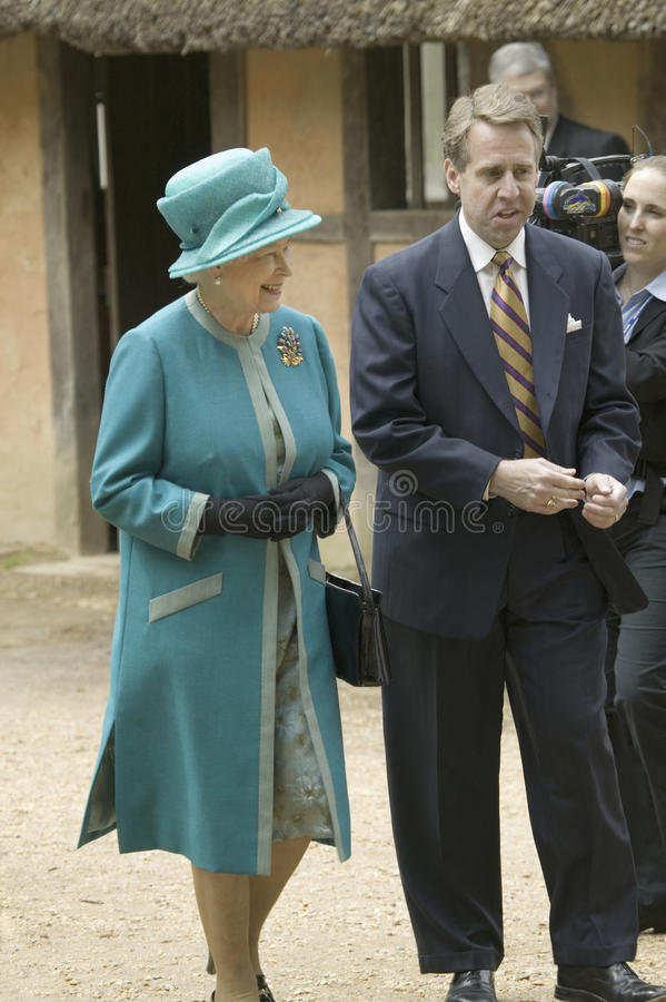 Queen Elizabeth II and Phil Emerson. Phil Emerson and Her Majesty Queen Elizabeth II visiting James Fort, Jamestown Settlement, Virginia on May 4, 2007, the stock image