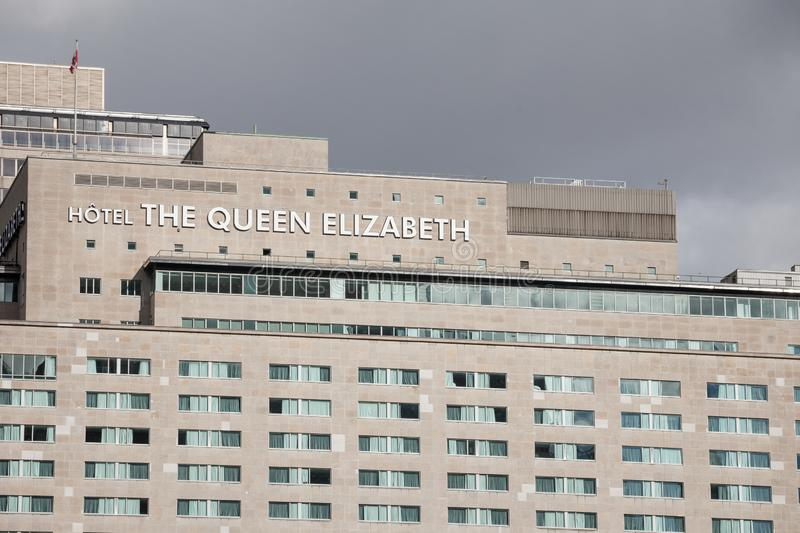 The Queen Elizabeth logo on their building in downtown Montreal, Quebec. stock photography
