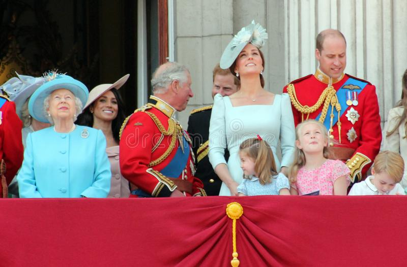 Queen Elizabeth, London, uk, 9th June 2018- Meghan Markle, Prince Harry, Prince George William, Charles, Kate Middleton & Princes. S Charlotte Trooping the stock photography