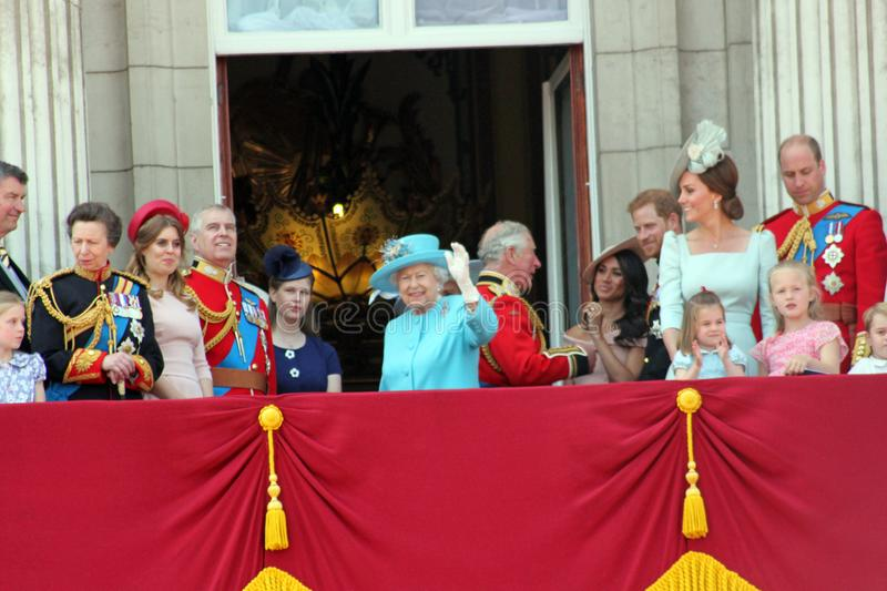 Queen Elizabeth, London, uk, 9th June 2018- Meghan Markle, Prince Harry, Prince George William, Charles, Kate Middleton & Princess. Charlotte Trooping the royalty free stock image