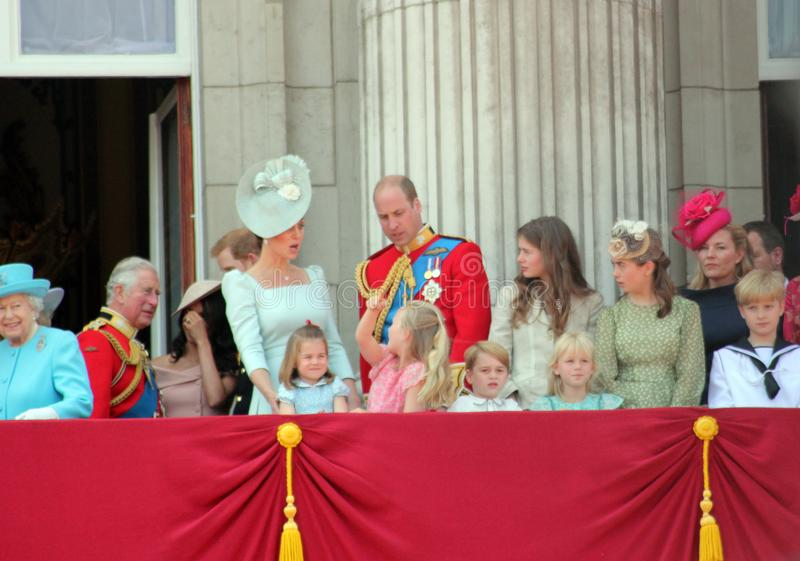 Queen Elizabeth, London, uk, 9th June 2018- Meghan Markle, Prince Harry, Prince George William, Charles, Kate Middleton & Princess. Charlotte Trooping the royalty free stock photography
