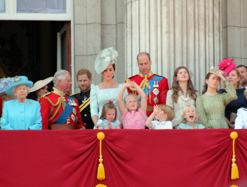 Queen Elizabeth, London, uk, 9th June 2018- Meghan Markle, Prince Harry, Prince George William, Charles, Kate Middleton & Princess. Charlotte Trooping the royalty free stock images