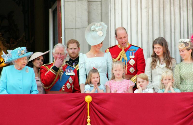 Queen Elizabeth, London, uk, 9th June 2018- Meghan Markle, Prince Harry, Prince George William, Charles, Kate Middleton & Princess. Charlotte Trooping the royalty free stock photos