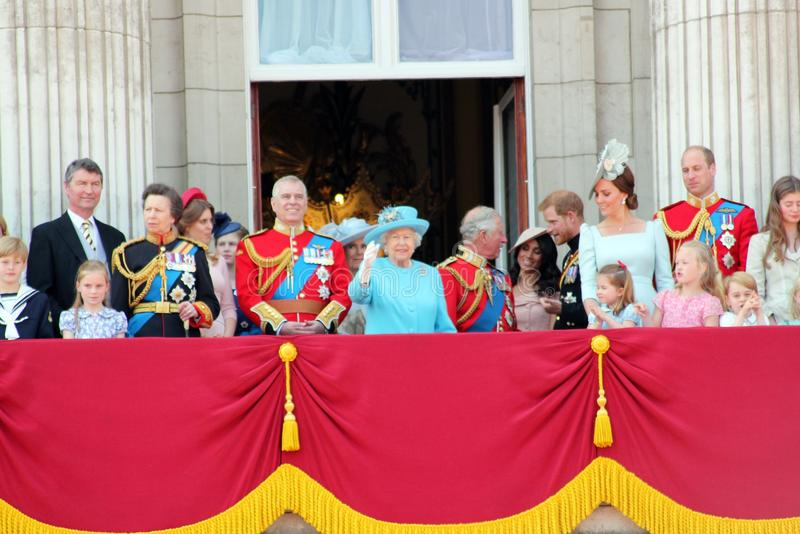 Queen Elizabeth, London, uk, 9th June 2018- Meghan Markle, Prince Harry, Prince George William, Charles, Kate Middleton & Princess. Charlotte Trooping the stock image