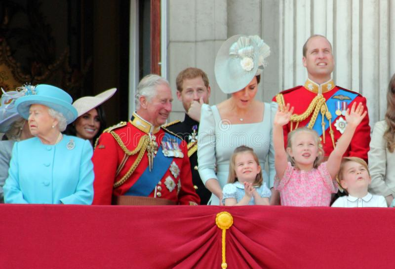 Queen Elizabeth, London, uk, 9th June 2018- Meghan Markle, Prince Harry, Prince George William, Charles, Kate Middleton & Princess. Charlotte Trooping the stock photo