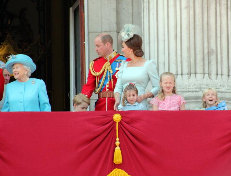 Queen Elizabeth, London, uk, 9th June 2018- Prince George William, Charles, Kate Middleton & Princess. Charlotte Trooping the colour Royal Family at Buckingham stock photography