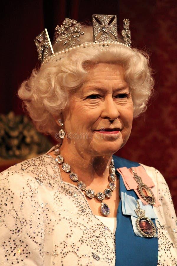 Queen Elizabeth, stock photo, London, Uk- March 20, 2017: Queen Elizabeth ii 2 portrait waxwork wax figure at museum, London royalty free stock images