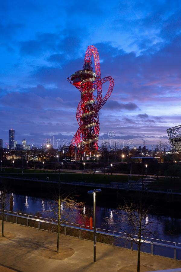 Queen Elizabeth Olympic Park at night , London, stock photo