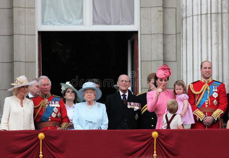 Queen Elizabeth & Royal Family, Buckingham Palace, London June 2017- Trooping the Colour Prince George William, harry, Kate & Char. Lotte Balcony for Queen royalty free stock photography