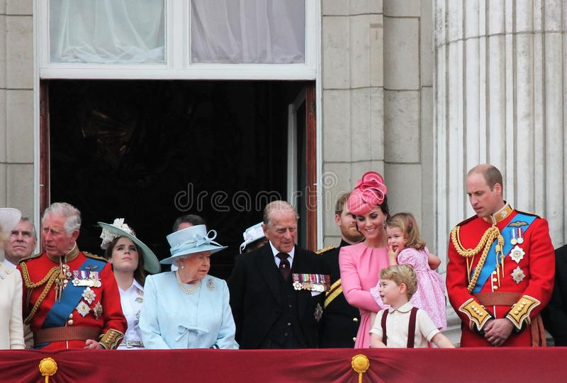 Queen Elizabeth & Royal Family, Buckingham Palace, London June 2017- Trooping the Colour Prince George William, harry, Kate & Char. Lotte Balcony for Queen royalty free stock image