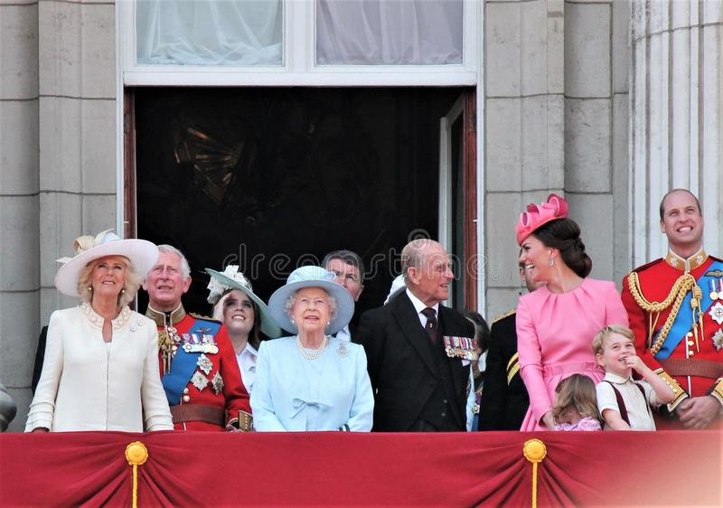 Queen Elizabeth & Royal Family, Buckingham Palace, London June 2017- Trooping the Colour Prince George William, harry, Kate & Char. Lotte Balcony for Queen royalty free stock photos