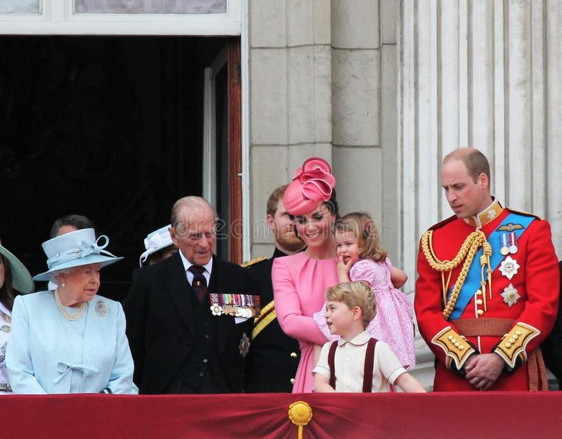 Queen Elizabeth & Royal Family, Buckingham Palace, London June 2017- Trooping the Colour Prince George William, harry, Kate & Char. Queen Elizabeth & Royal royalty free stock photo