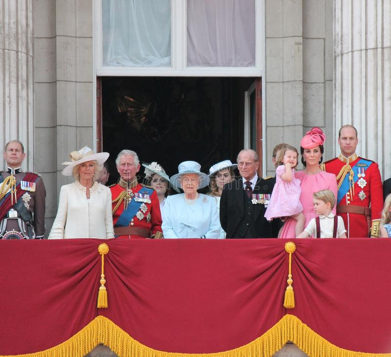 Queen Elizabeth & Prince George Charlotte William, harry, Kate & Charles. Trooping the colour 2017 London UK. Queen Elizabeth & Royal Family, Buckingham Palace royalty free stock photos