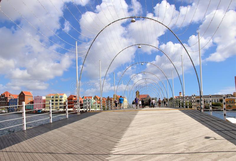 Willemstad, Curacao - 12/17/17: Queen Emma Pontoon Bridge in Willamstad, Curacao, in the Netherland Antilles stock images