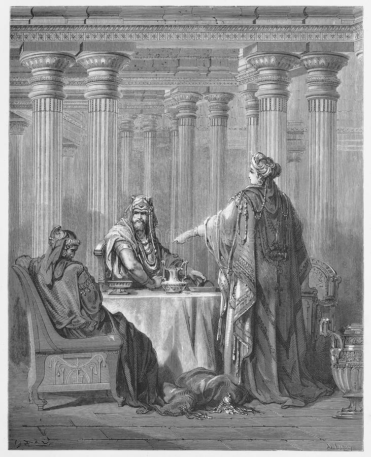 Queen Esther in the Kings Court. Defending her people - Picture from The Holy Scriptures, Old and New Testaments books collection published in 1885, Stuttgart