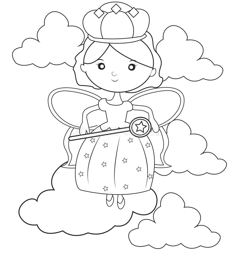 Queen fairy coloring page. Useful as coloring book for kids stock illustration