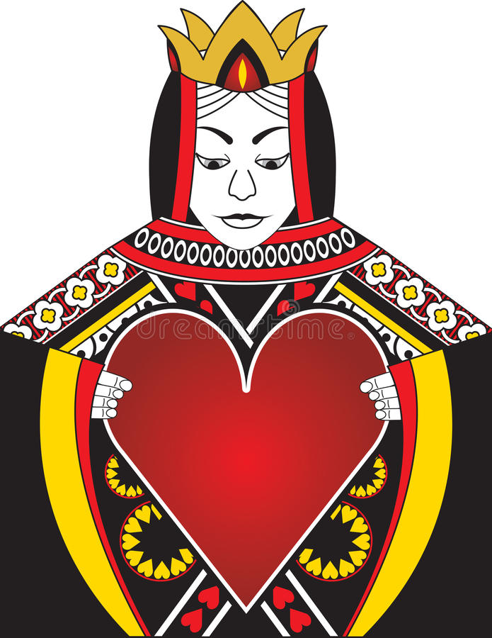 Queen of Hearts. Original illustration depicting the queen of hearts holding a giant heart. The giant heart makes a perfect frame for text or a logo