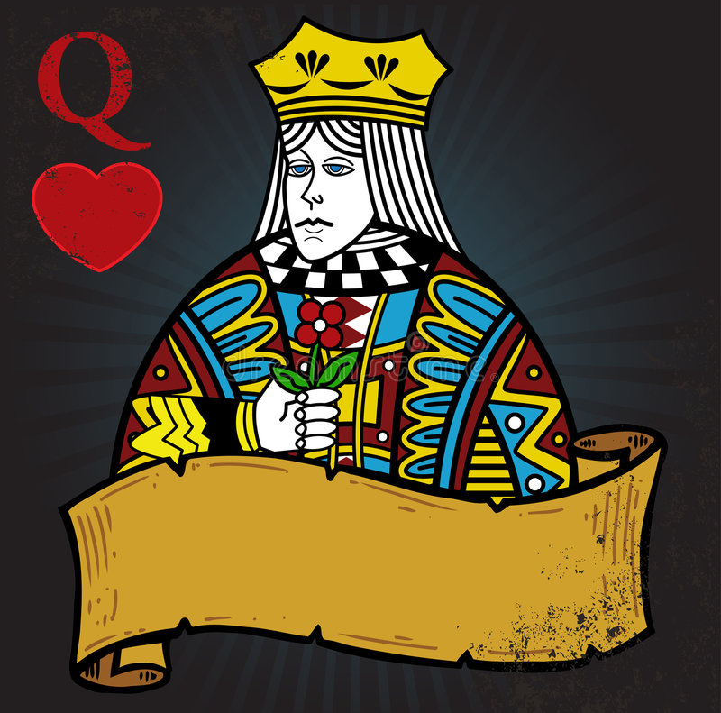 Queen Of Hearts With Banner Royalty Free Stock Image