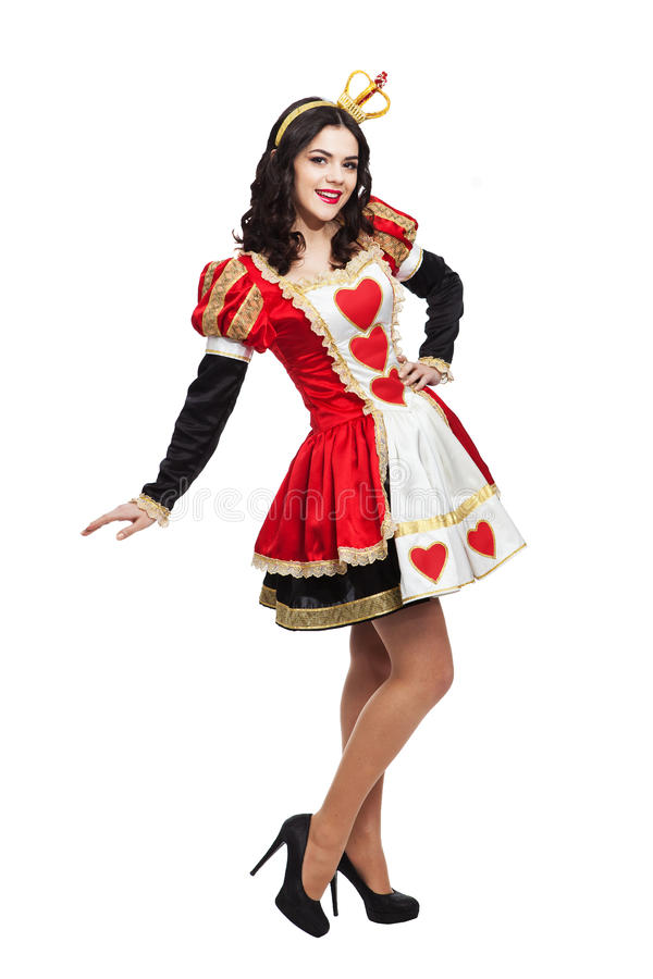 Queen of hearts. Creative young lady in black and stock photos