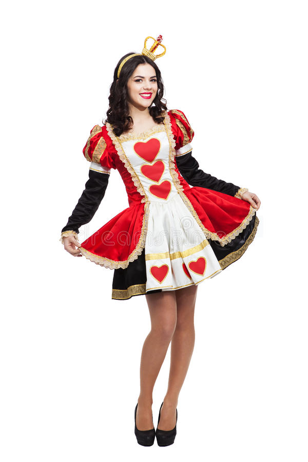 Queen of hearts. Creative young lady in black and. Queen of hearts. Creative attractive lady in black and red colors dress stock images
