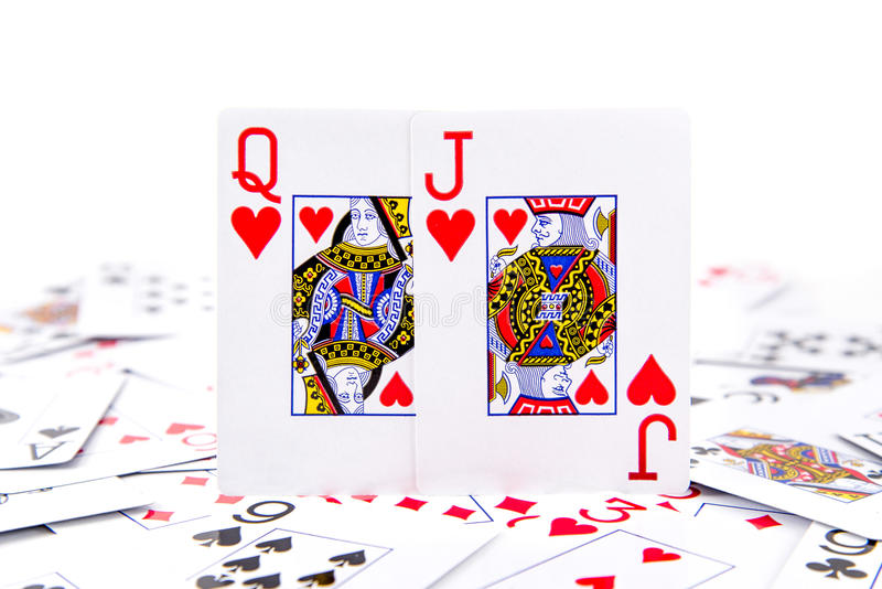 A queen of hearts and jack of hearts stock photo